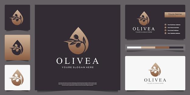 Disegno di marchio e biglietti da visita di oliva e goccia d'acqua