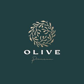 Modello di logo estetico sofisticato corona d'oliva olive