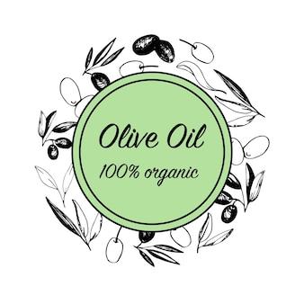 Composizioni di olive con rami di ulivo e frutti per il design della cucina italiana