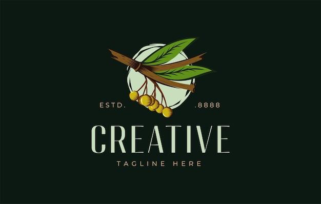 Modello di progettazione di logo retrò ramo di olive