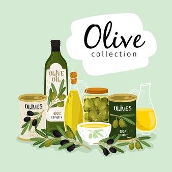 Olive e olio d'oliva. oli di olive naturali, lattine di vetro e metalliche, raccolta di rami di ulivo vettoriale