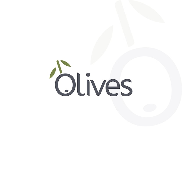 Olive vector logo nero maturo e ramo di ulivo verde con foglie emblemi di cibo gourmet semplice