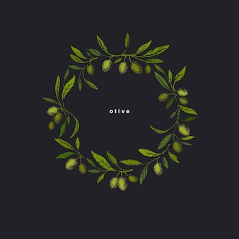 Corona di olive. illustrazione di trama grafica in stile grunge. design vintage