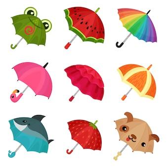 Ollection di ombrelli colorati carino illustrazione su uno sfondo bianco