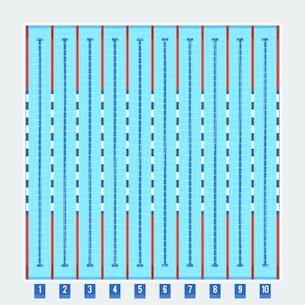 Pittogramma piatto con vista dall'alto di corsie da bagno profonde della piscina olimpionica con acqua blu trasparente pulita