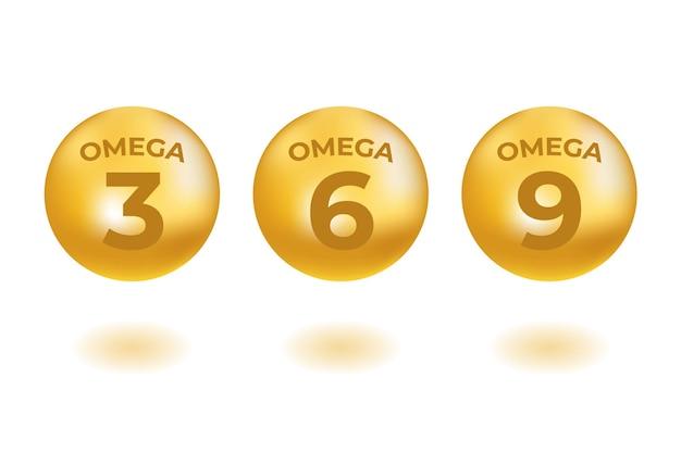 Acidi omega gocce icone d'oro