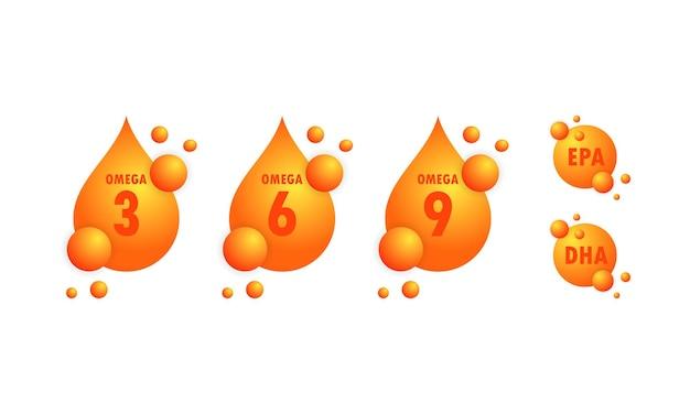 Acidi omega o epa, set di gocce dha. omega tre, sei e nove o capsule d'oro di olio di pesce.