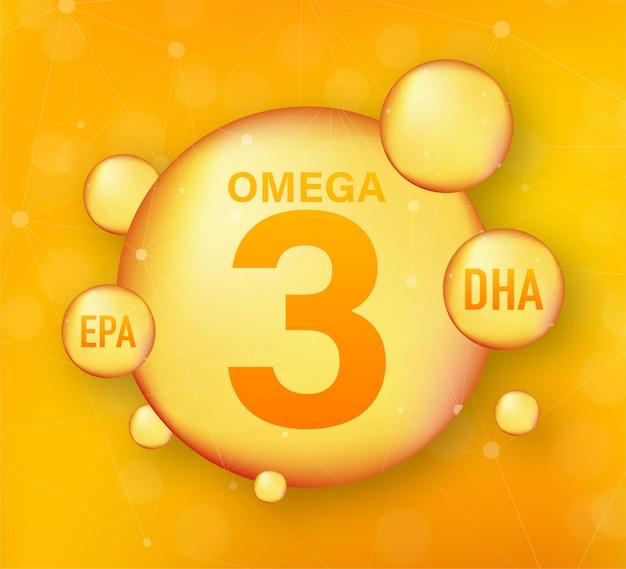 Acido grasso omega, epa, dha. omega tre, pesce naturale, olio vegetale. illustrazione di riserva.