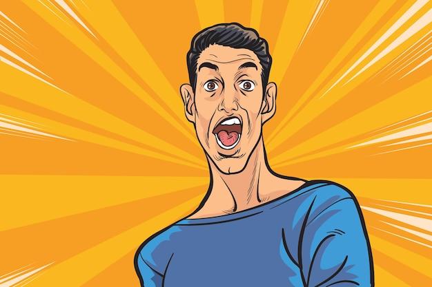 Omg pop art uomo sorpresa, uomo faccia di panico divertente