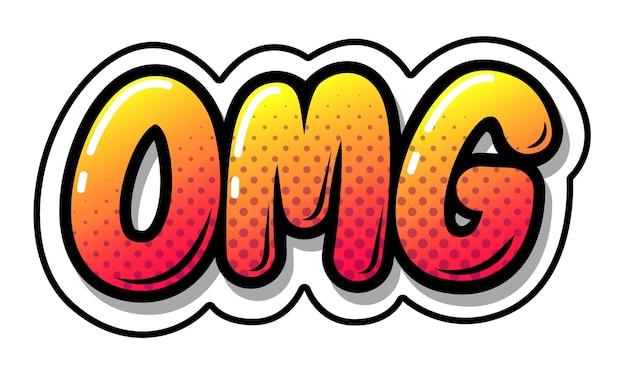 Omg tipografia stile fumetto, fumetto su sfondo bianco