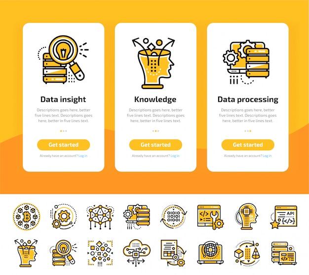 Schermate di app integrate della tecnologia data science e set di icone del processo di apprendimento automatico