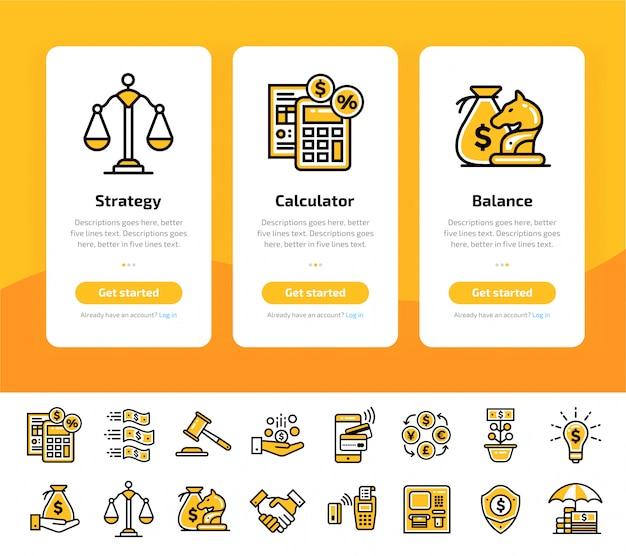 Schermate di app onboarding della finanza, set di icone bancarie