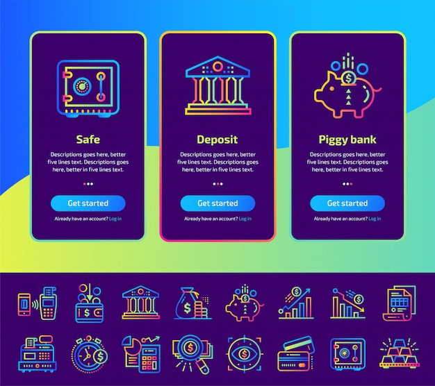 Schermate di app onboarding di finanza, set di illustrazione bancaria.