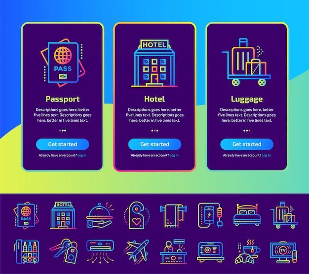 Schermate dell'app onboarding dell'insieme dell'illustrazione di servizi dell'hotel.