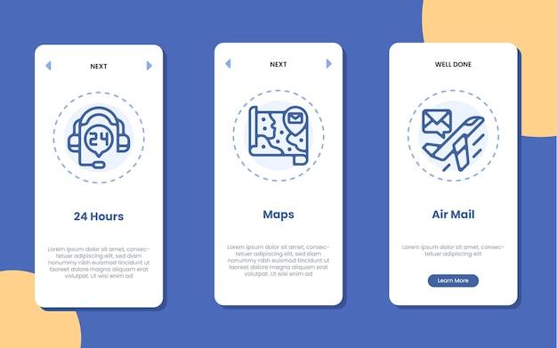 Schermata dell'applicazione di onboarding con mappe 24 ore su 24 e illustrazione dell'icona della posta aerea