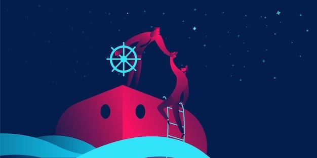 Concetto di business onboarding in sfumature di neon rosso e blu