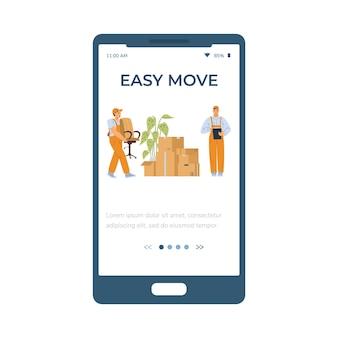 Schermata dell'app mobile onboarding per lo spostamento dell'illustrazione vettoriale piatta del servizio