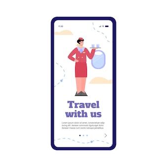Pagina di onboarding per l'applicazione della compagnia aerea con personaggio dei cartoni animati hostess amichevole, illustrazione vettoriale piatta isolato su sfondo bianco. pagina iniziale dello schermo del cellulare.