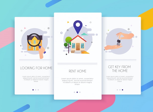 Schede di onboarding kit interfaccia utente per modelli di app mobili concetto di affitto casa.