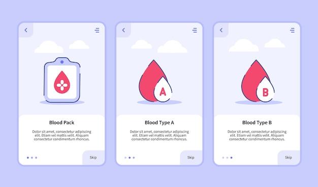 Modello di onboarding per l'interfaccia utente di progettazione di app mobili per impacco di sangue medico