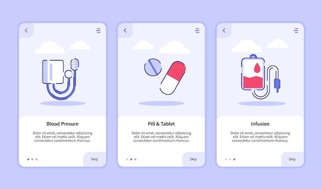 Modello di onboarding per l'interfaccia utente di progettazione di app mobili per la pressione sanguigna medica