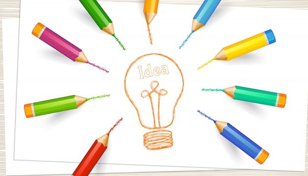 Concetto di brainstorming, discussione e creazione di un'idea. fogli di carta con matite colorate