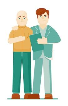 Oncologo che sostiene il suo paziente