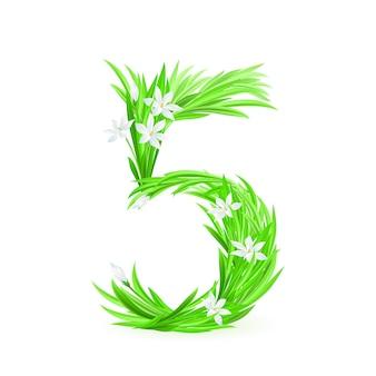 Un simbolo dell'alfabeto di fiori primaverili - numero cinque. illustrazione su sfondo bianco