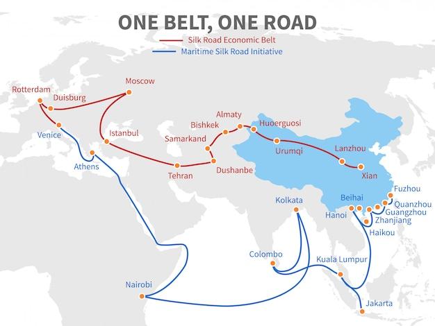 Una cintura - una strada di seta moderna cinese a una strada. modo di trasporto economico sull'illustrazione di vettore della mappa di mondo