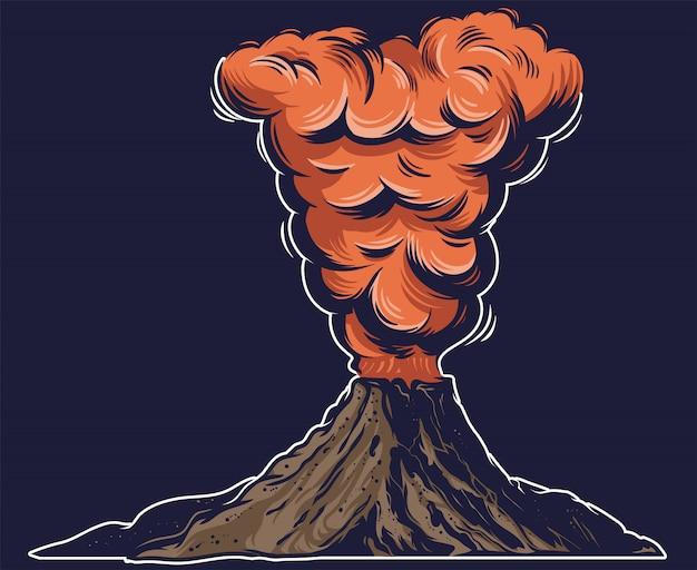 Un grande vulcano attivo pericoloso con fuoco lava molto calda e denso fumo rosso sulla montagna.
