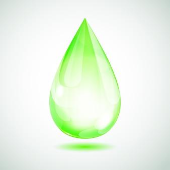 Una grande goccia verde su sfondo bianco con ombra