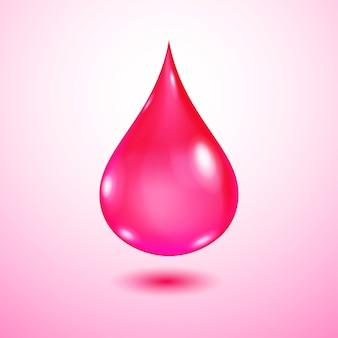 Una grande goccia d'acqua rosa traslucida realistica con ombra su sfondo sfumato rosa chiaro