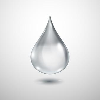 Una grande goccia d'acqua traslucida realistica nei colori grigi con ombra