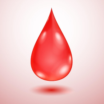 Una grande goccia d'acqua traslucida realistica nei colori rossi con ombra