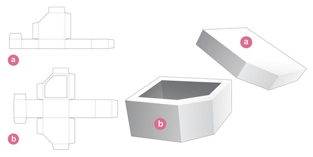 Una scatola per ciotola angolare smussata con coperchio modello fustellato