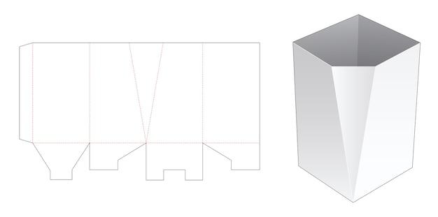 Un modello fustellato di scatola di cancelleria smussata