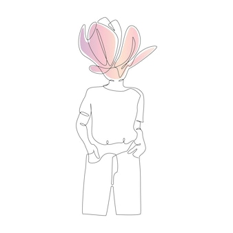 Un disegno a tratteggio continuo di silhouette donna astratta con fiore ritratto femminile moderno con mag...