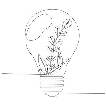 Un disegno a tratteggio continuo di una lampadina pulita con una pianta organica a foglia verde