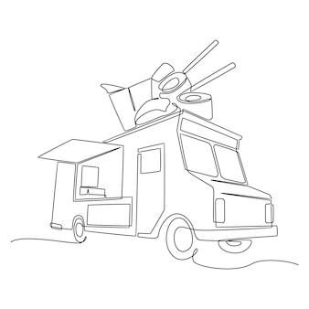 Un disegno a tratteggio continuo del food truck per il festival abstract