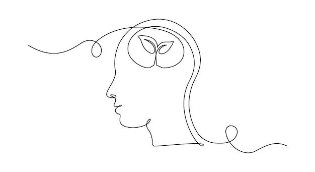 Un disegno a tratteggio continuo della testa umana con la pianta all'interno del vettore di salute mentale e psicologia