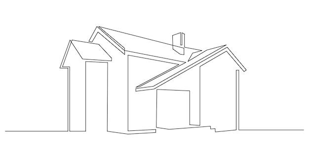 Un disegno a tratteggio continuo del concetto alla moda della casa moderna della siluetta di architettura domestica in m...