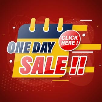 Modello di banner di vendita di un giorno per web o social media.