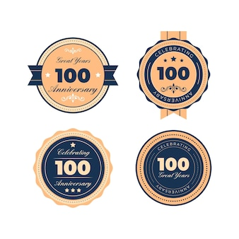 Selezione di badge per cento anni