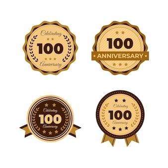 Set di etichette per un centinaio di anniversario