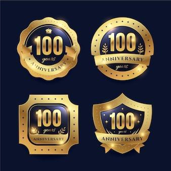 Collezione di badge per cento anni