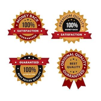 Collezione di badge di garanzia al cento per cento