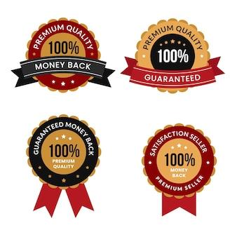 Pacchetto badge di garanzia al cento per cento Vettore Premium