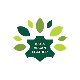 Illustrazione dell'icona di vettore del logo naturale della foglia di cuoio vegan al cento per cento