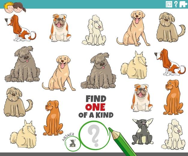 Compito educativo di un'immagine unica nel suo genere con cani di razza dei cartoni animati
