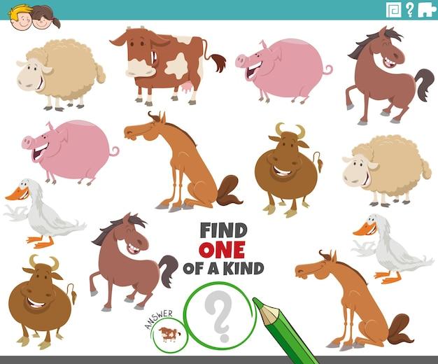 Compito unico per i bambini con animali da fattoria dei cartoni animati